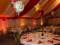 Interior of a Marquee decorated for a 21st Birthday Party